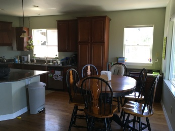 replace countertops, stove-top, sink, backsplash, paint cabinets and walls, add pillars, shutters, new furniture and light fixtures